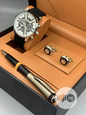Montblanc Leather Watch/Pen and Cufflinks   Watches for sale in Lagos State, Lagos Island (Eko)
