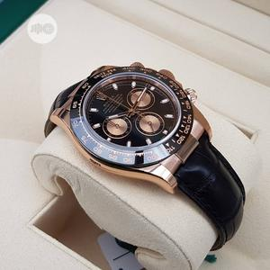 Rolex Oyster Perpetual (DAYTONA) Rose Gold/Black Leather Strap Watch   Watches for sale in Lagos State, Lagos Island (Eko)