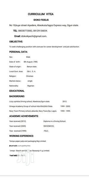 School Bus Driver | Driver CVs for sale in Ogun State, Ewekoro