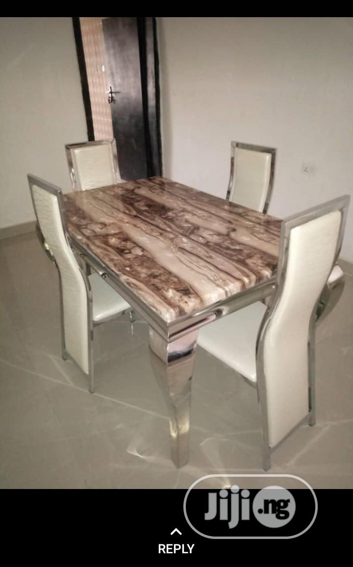 Marble Dinning Tables With 4 Chairs | Furniture for sale in Ojo, Lagos State, Nigeria