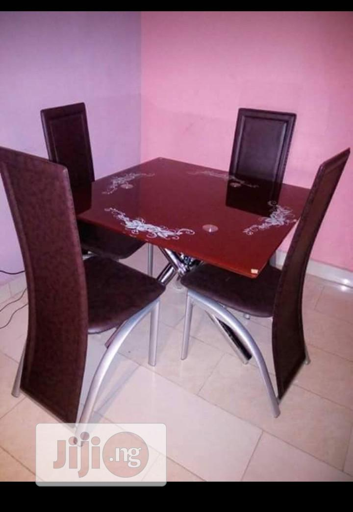 Glass Square Dinning Table With 4 Chairs