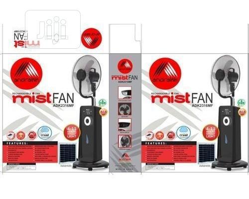 "Andrakk 18"" Reachargeable Mist Fan With Usb+Solar Ports"