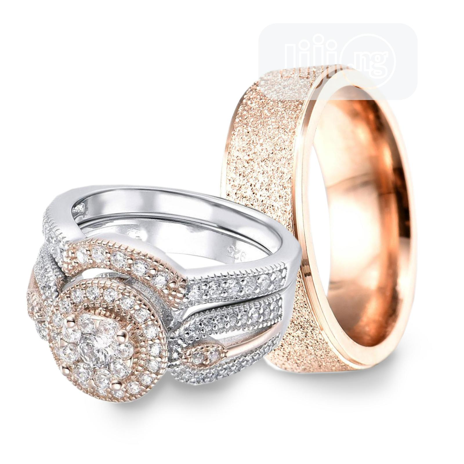 Archive: Exquisite Silver And Rose Gold Wedding Ring Set