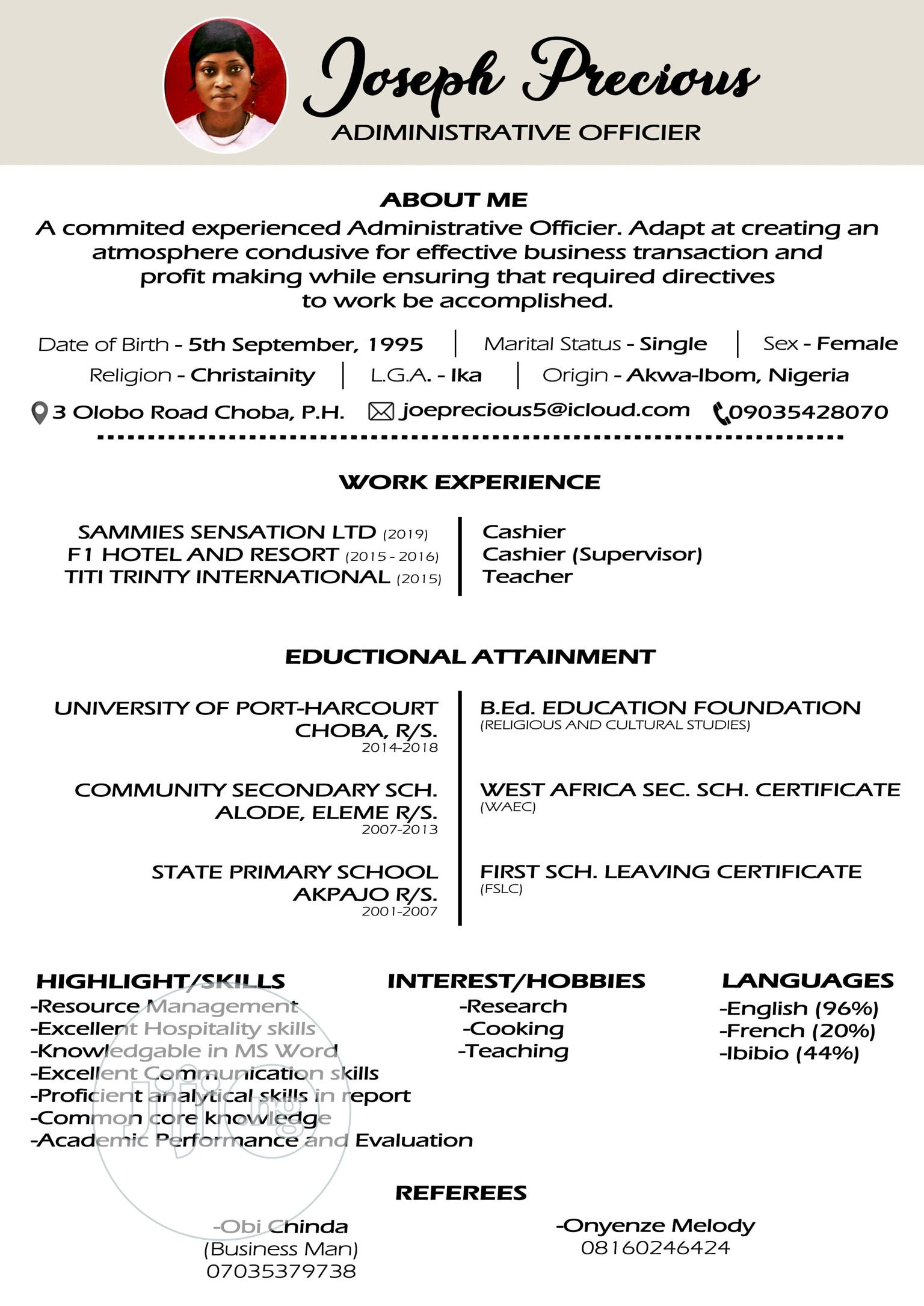 Business Development Officier   Consulting & Strategy CVs for sale in Port-Harcourt, Rivers State, Nigeria