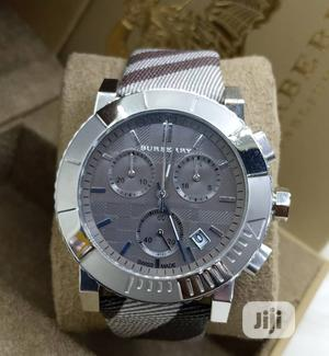 Burberry Chronograph Silver Leather Strap Watch   Watches for sale in Lagos State, Lagos Island (Eko)