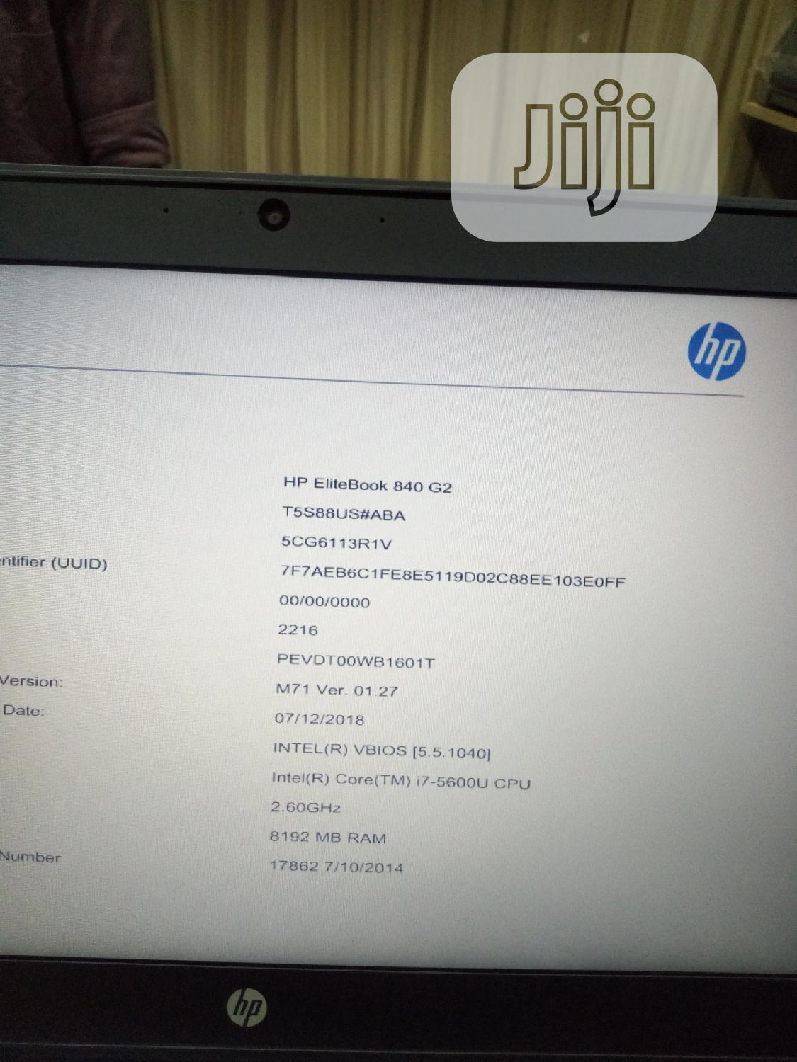 Laptop HP EliteBook 840 G2 8GB Intel Core i7 HDD 500GB | Laptops & Computers for sale in Wuse, Abuja (FCT) State, Nigeria