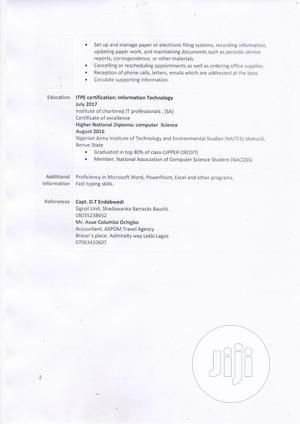 Secretary Female CV   Customer Service CVs for sale in Lagos State, Ikoyi