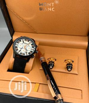 Montblanc Chronograph Black Leather Strap Watch With Cufflinks and Pen   Watches for sale in Lagos State, Lagos Island (Eko)