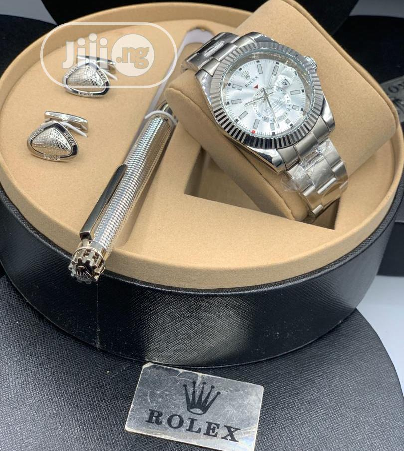 Rolex Oyster Perpetual Silver Chain Watch With Cufflinks and Pen