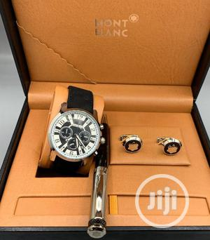 Montblanc Chronograph Silver Leather Watch With Cufflinks and Pen   Watches for sale in Lagos State, Lagos Island (Eko)