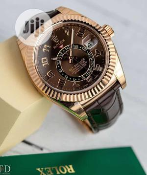 Rolex (SKY-DWELLER) Rose Gold Leather Strap Watch   Watches for sale in Lagos State, Lagos Island (Eko)