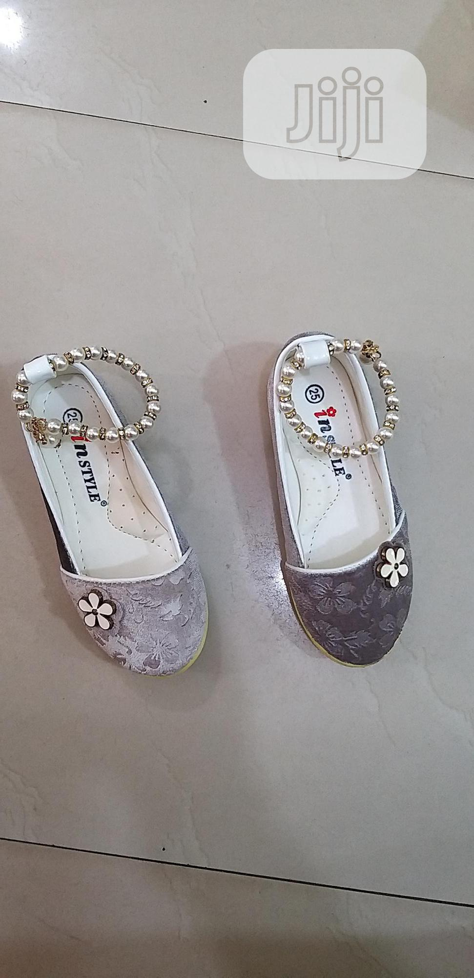 Girls Beaded Anklet Shoes- Grey Silver
