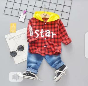 Quality 2pcs Hooded Long Sleeve Shirt And Jeans | Children's Clothing for sale in Lagos State, Surulere