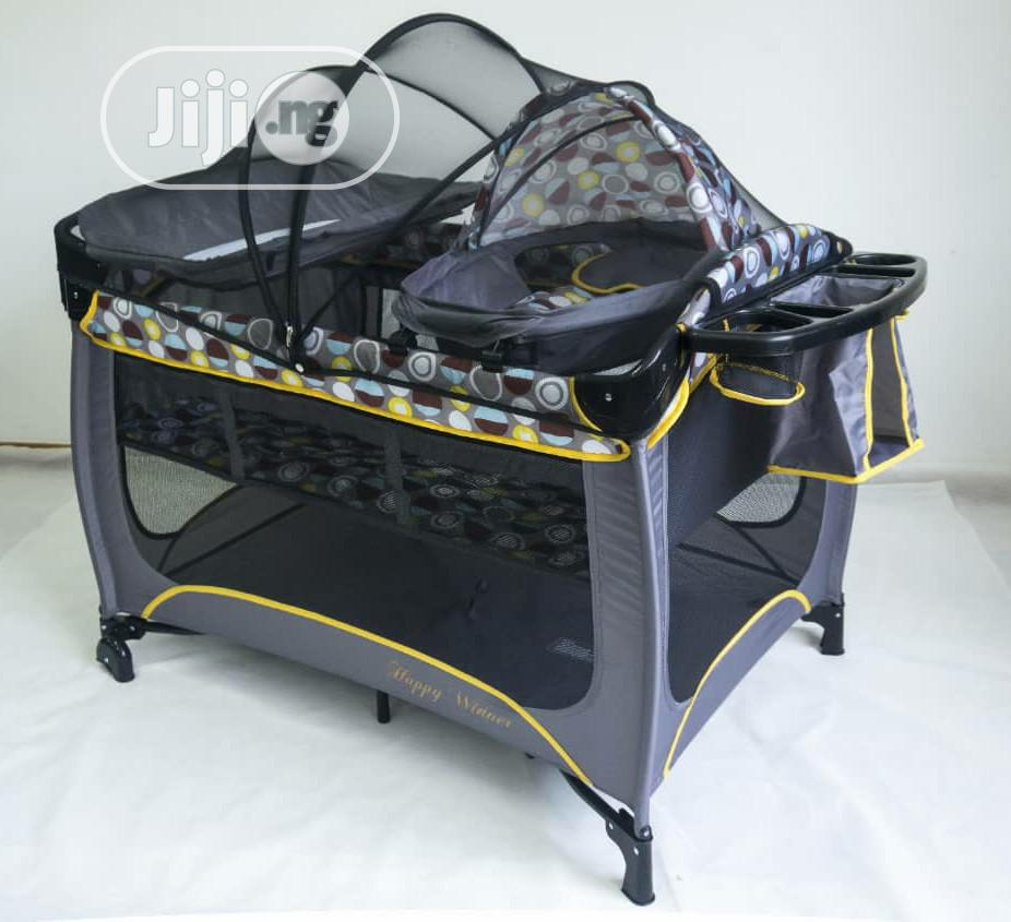 Baby Play Pen Bed Silver