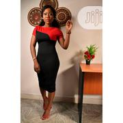 Bodycon Black/Red Two-Tone Short Sleeves Women's Dress | Clothing for sale in Lagos State, Surulere