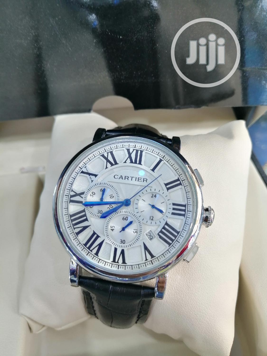 Cartier Chronograph Silver Leather Strap Watch