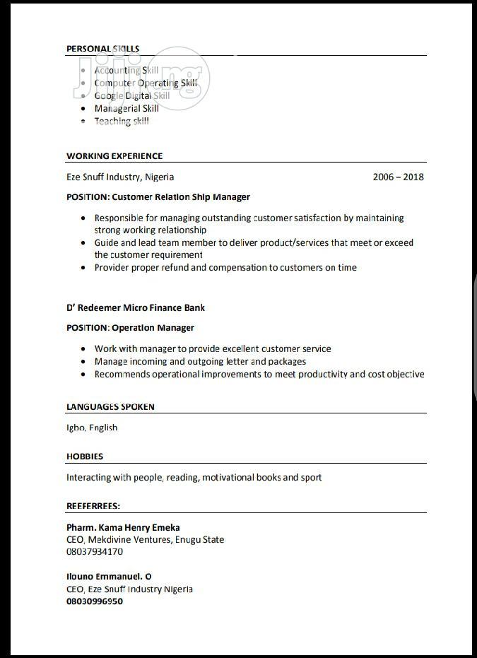 Clerical & Administrative CV | Clerical & Administrative CVs for sale in Enugu / Enugu, Enugu State, Nigeria