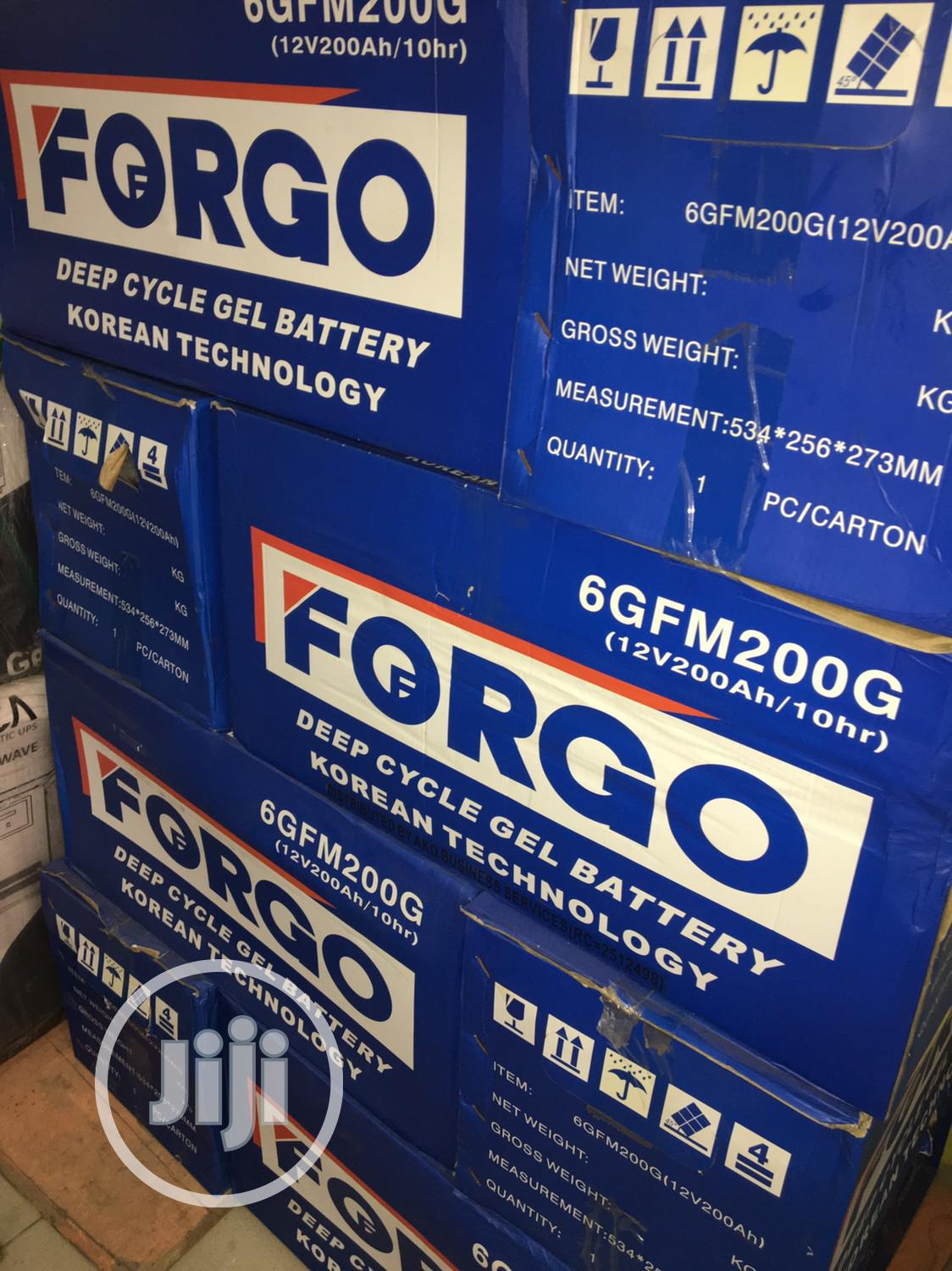 200ah 12v FORGO Battery Battery Available With 1yr Warranty | Solar Energy for sale in Lekki, Lagos State, Nigeria