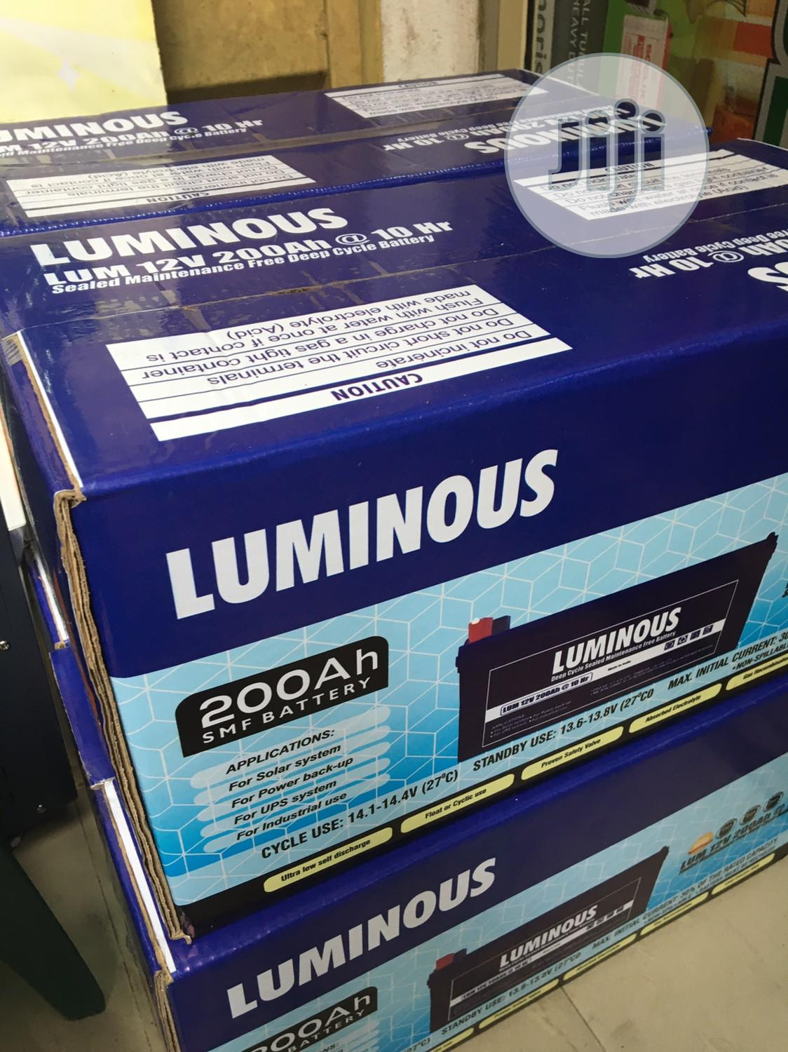 200ah 12v LUMINOUS Battery Available With 2yrs Warranty | Solar Energy for sale in Ojo, Lagos State, Nigeria