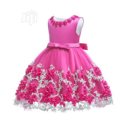 Floral Designed Girls Gown - Pink