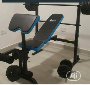 Bench Press With 50kg Barbell, Dumbbell Biceps Curl Pad | Sports Equipment for sale in Lagos State, Ajah