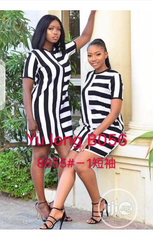 Ladies Stripe Mini Shortsleeve Dress | Clothing for sale in Lagos State, Ikeja