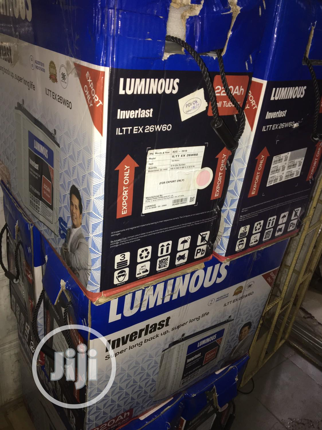 220ah 12v LUMINOUS Tubular Battery Available With 2yrs Warranty   Solar Energy for sale in Ojo, Lagos State, Nigeria