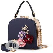 Mini Square-Shaped Leather Bag With Flower Design- Blue | Bags for sale in Lagos State, Surulere