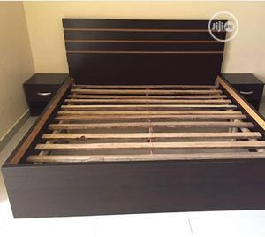 Padded Coffee Brown Family Size Bedframe With Bedside Cabinets | Furniture for sale in Lagos State
