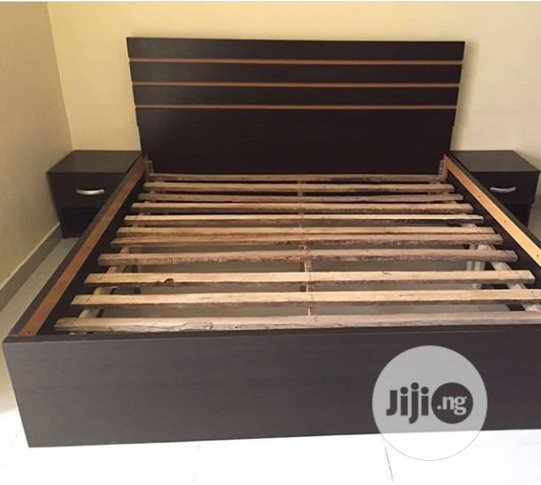 Padded Coffee Brown Family Size Bedframe With Bedside Cabinets