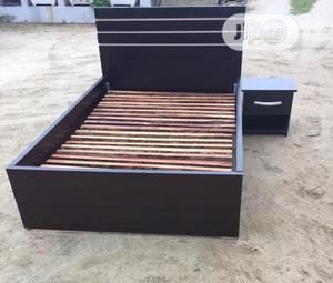 4.5 X 6feet Coffee Brown Bedframe With Bedside Cabinet | Furniture for sale in Lagos State