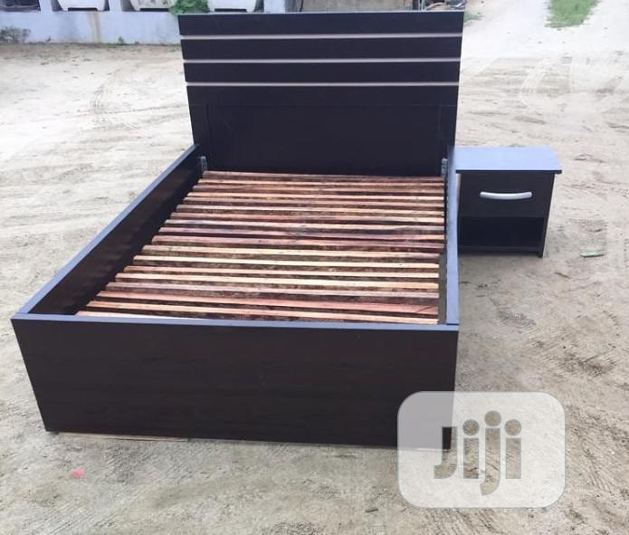 4.5 X 6feet Coffee Brown Bedframe With Bedside Cabinet