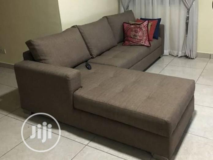 L Shape Five Seater Coffee Brown Sofa