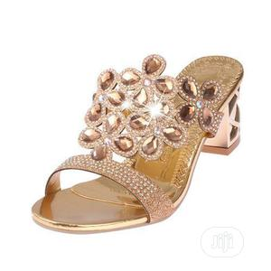 Women's Rhinestone Block Heel Slippers/Sandals - Gold | Shoes for sale in Lagos State, Lagos Island (Eko)