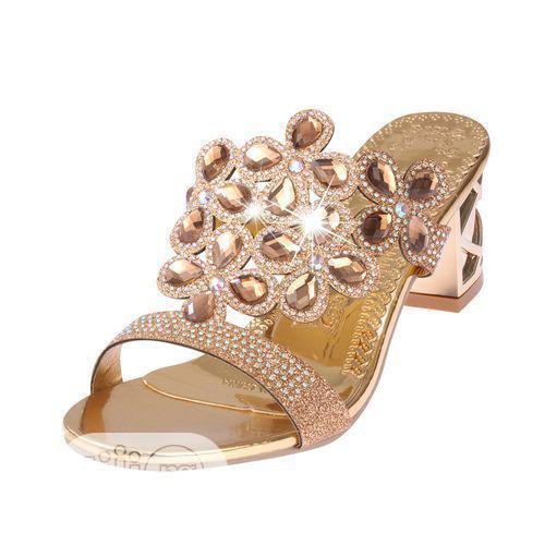 Women's Rhinestone Block Heel Slippers/Sandals - Gold