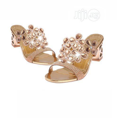 Women's Rhinestone Block Heel Slippers/Sandals - Gold | Shoes for sale in Lagos Island (Eko), Lagos State, Nigeria