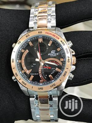 Edifice Casio Chronograph Rose Gold/Silver Chain Watch | Watches for sale in Lagos State, Lagos Island (Eko)