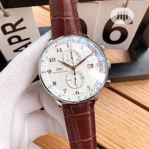 IWC Chronograph Silver Leather Strap Watch | Watches for sale in Lagos State, Lagos Island (Eko)