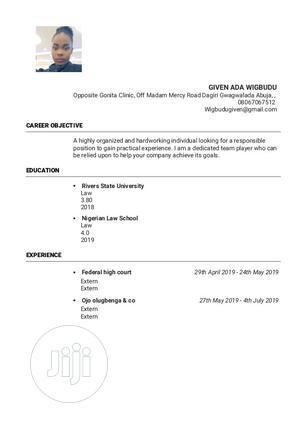 Legal Lawyer Secretary Office Job   Legal CVs for sale in Abuja (FCT) State, Maitama
