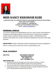 Nancy Egbe | Customer Service CVs for sale in Lagos State, Ikotun/Igando