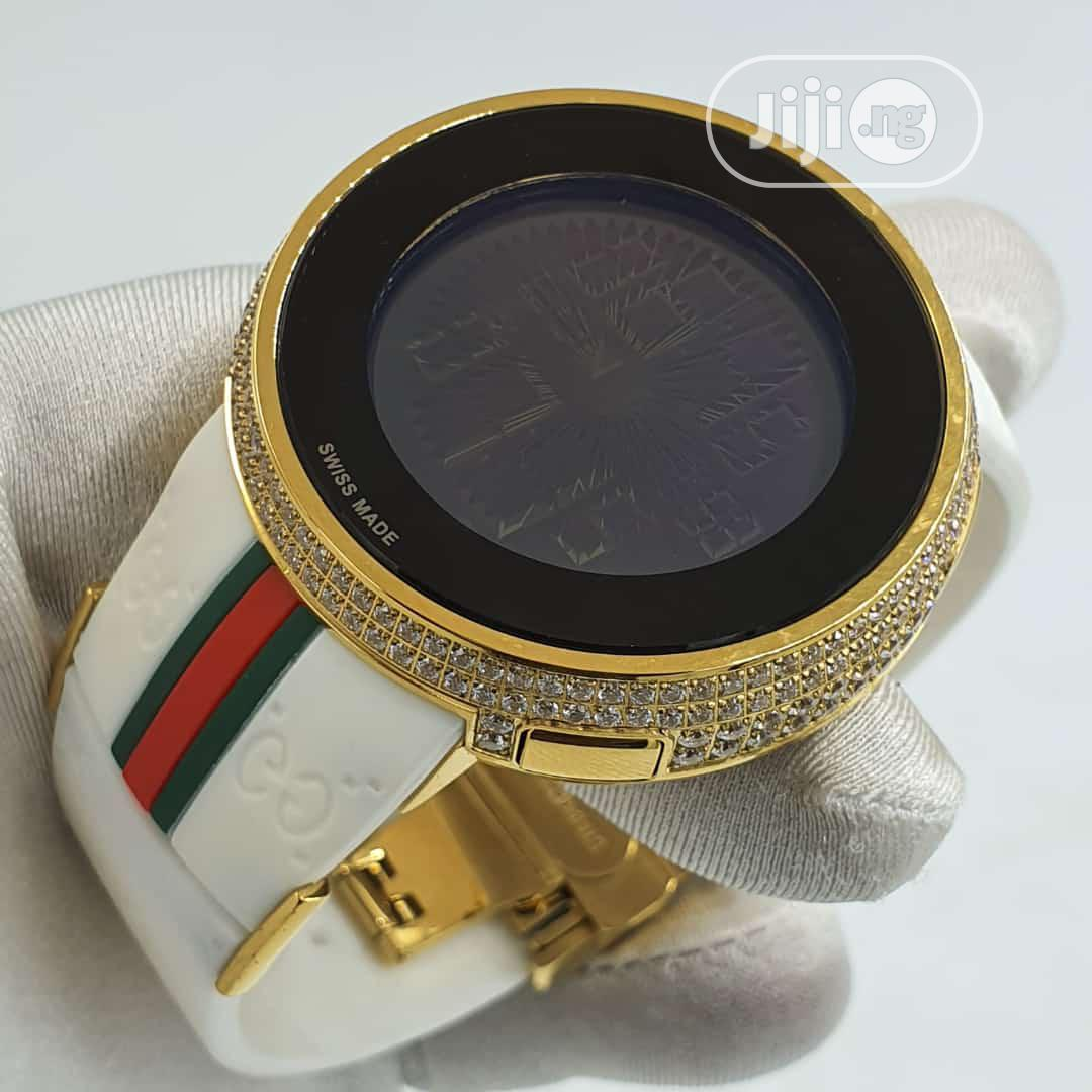 Gucci Gold Ice Head Digital White Rubber Strap Watch