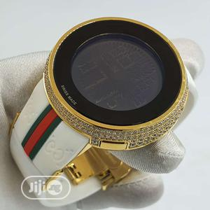 Gucci Gold Ice Head Digital White Rubber Strap Watch | Watches for sale in Lagos State