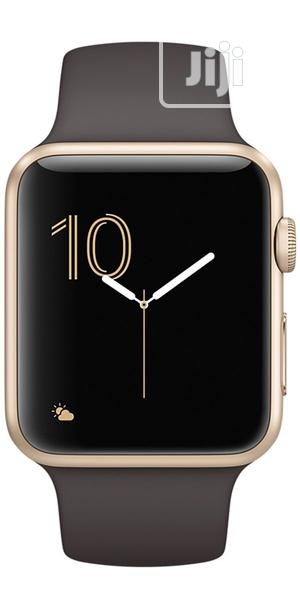 Apple & Eve Watch Series 2 - 42mm Gold Aluminum Case Cocoa Sport Band   Smart Watches & Trackers for sale in Lagos State, Ikeja
