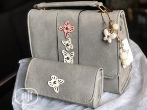 Grey Colored Quality Leather Bag With Purse.   Bags for sale in Lagos State, Ajah