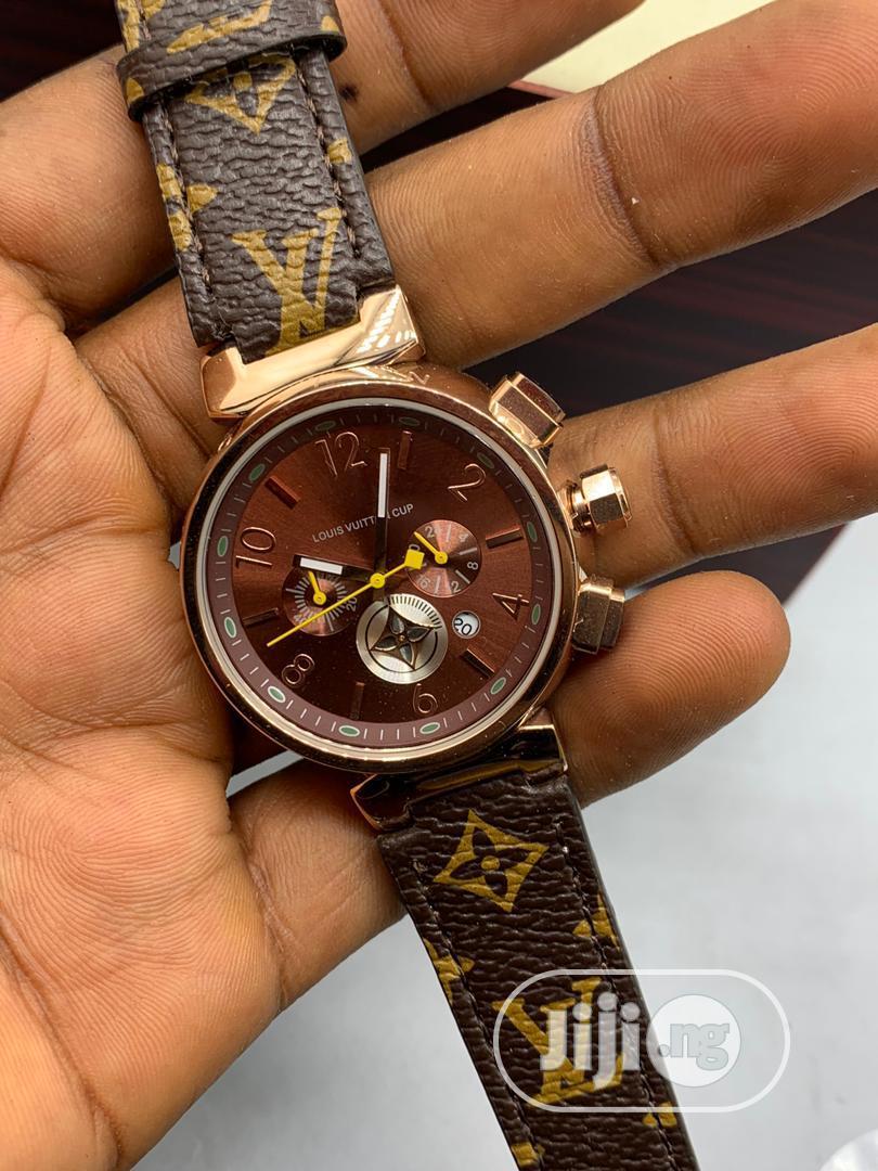 Designer Louise Vuitton Leather Wrist Watch For Ladies
