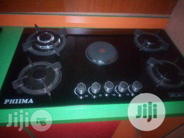 Phiima 90cm Cabinet 4burners Gas + 1electricr Burners 2years Warranty