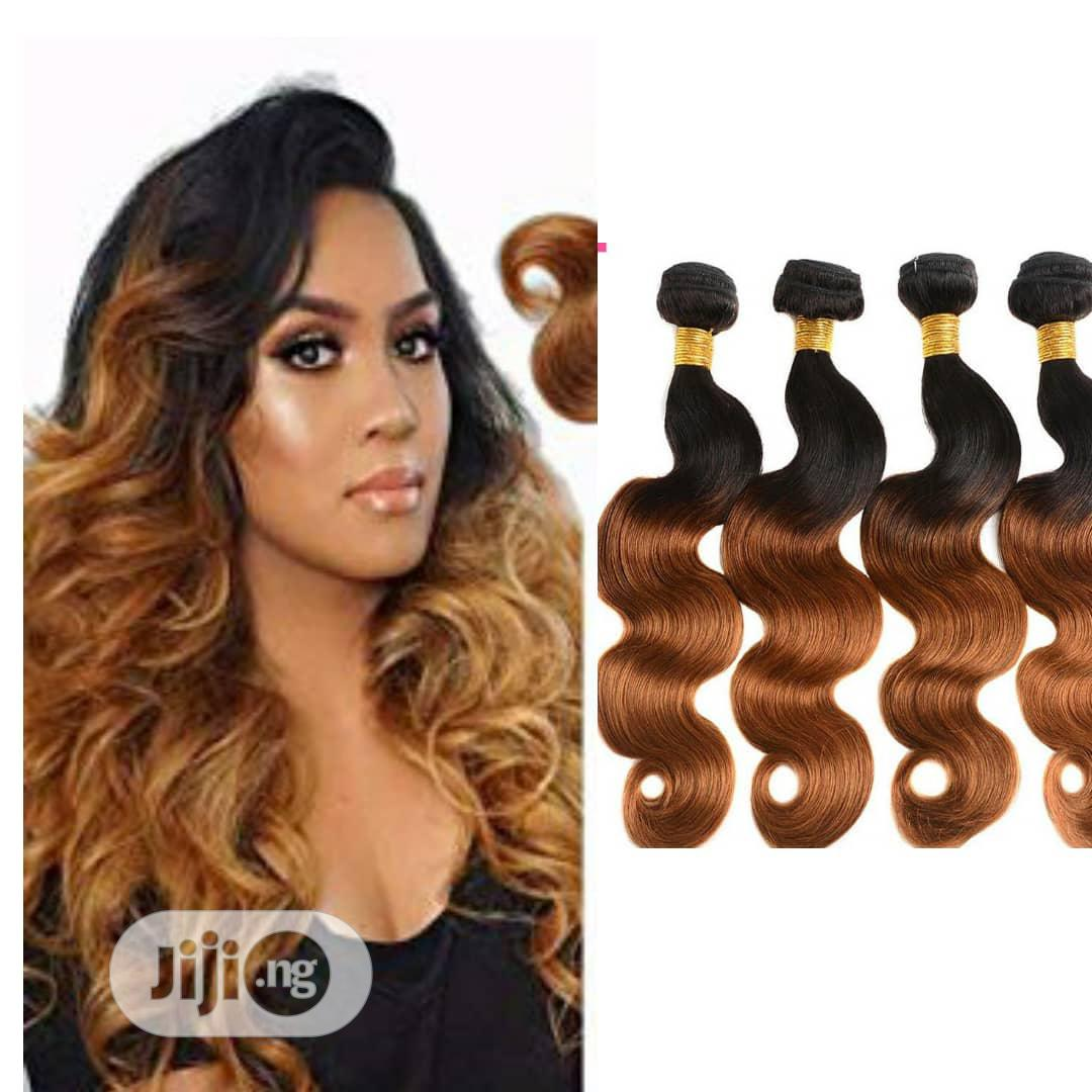 """Bouncy Body Wave Hair 16"""" 18"""" 20"""" (4 Full Bundles) Black and Ombre"""