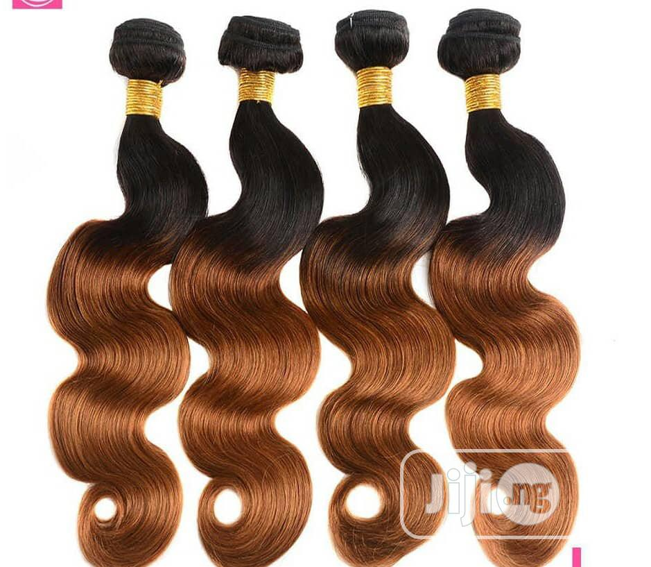 """Bouncy Body Wave Hair 16"""" 18"""" 20"""" (4 Full Bundles) Black and Ombre 