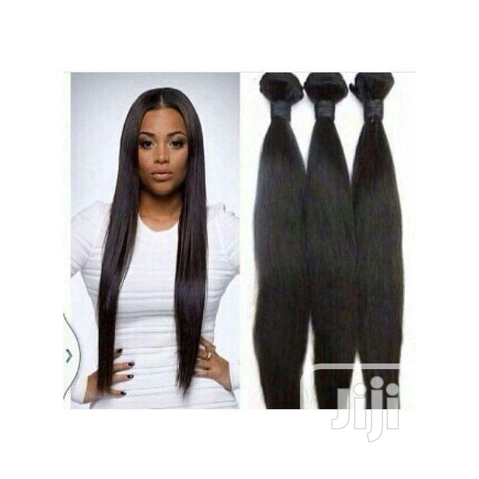 "24"" Straight Black Hair+Free Closure (6 Full Bundles) COL 1B 