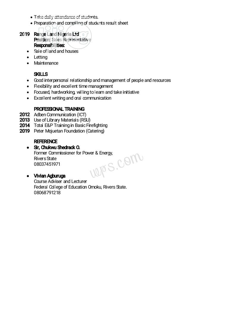 Security CV | Security CVs for sale in Ogba/Egbema/Ndoni, Rivers State, Nigeria